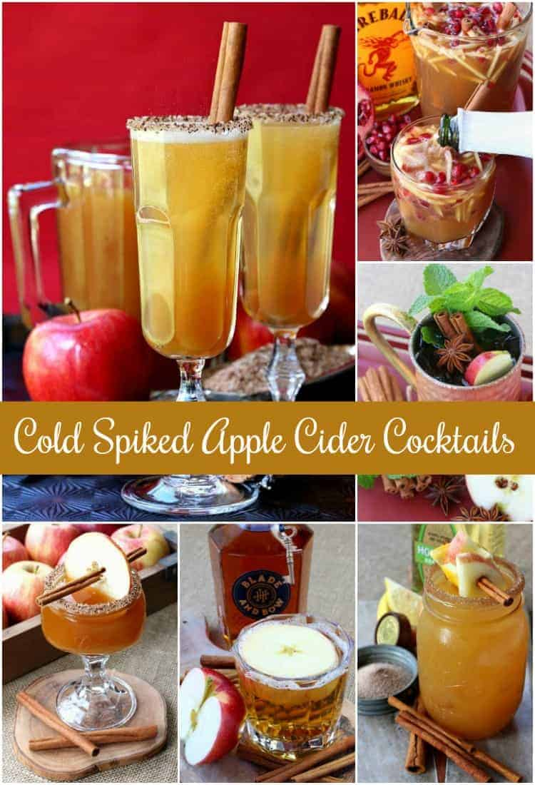 Cold Spiked Apple Cider Cocktails are my favorite spiked drinks to make with cider. These cider cocktails are perfect for brunch, parties or happy hour! #cocktails #applecider #happyhour
