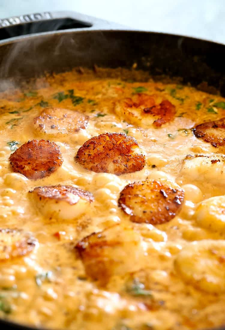 Creamy Tuscan Spaghetti with Jumbo Scallops is a seafood recipe with pasta in a creamy sauce with sun dried tomatoes
