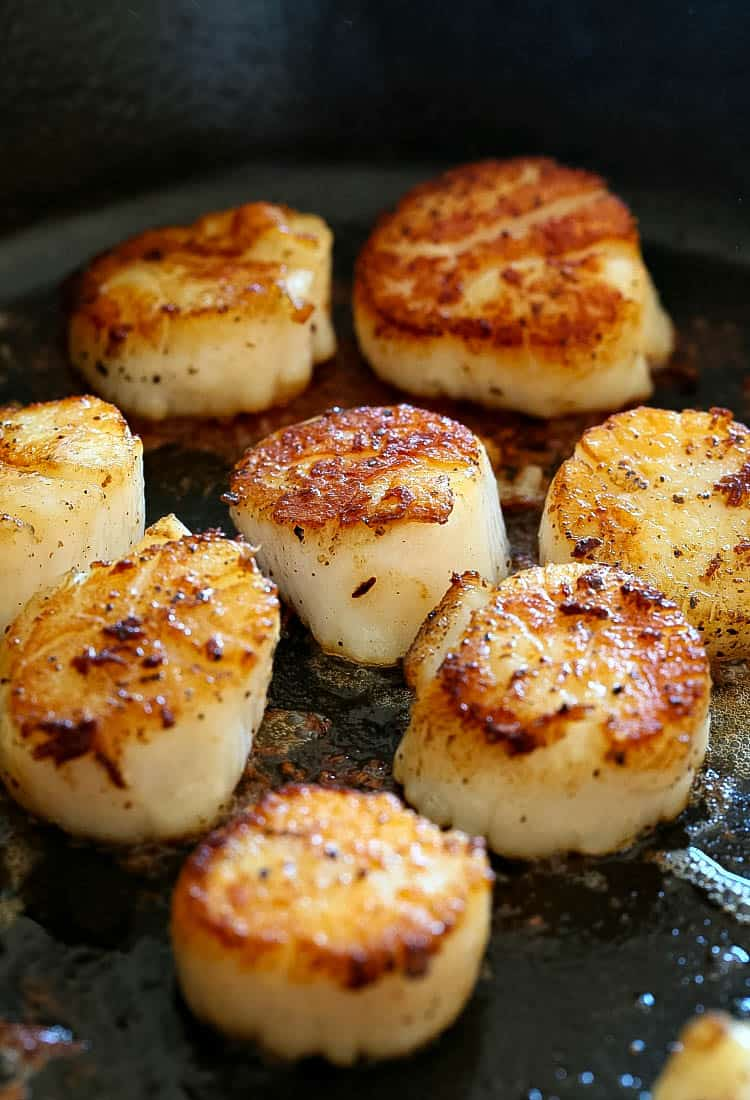 Creamy Tuscan Spaghetti with Jumbo Scallops starts by searing scallops in a skillet for just a few minutes on each side