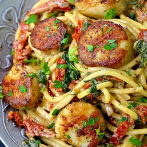 Creamy Tuscan Spaghetti with Jumbo Scallops