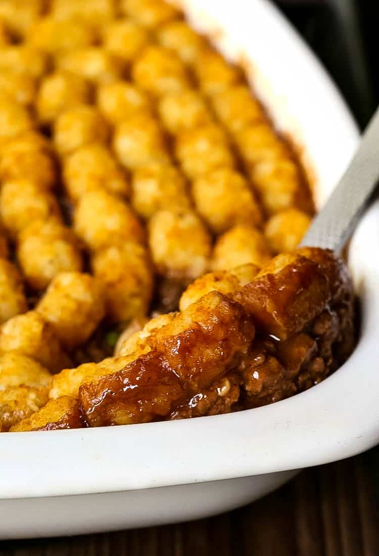 Ground Beef Tater Tot Casserole recipe is an easy beef casserole with gravy and tater tots
