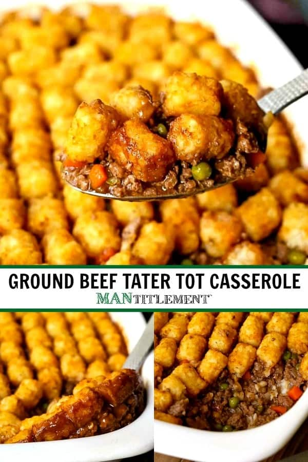tater tot casserole collage for pinterest
