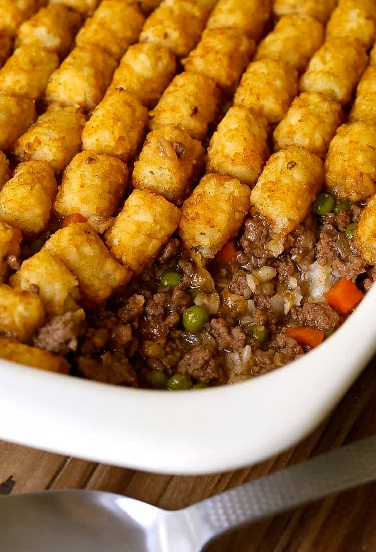 Ground Beef Tater Tot Casserole is a tater tot casserole with ground beef