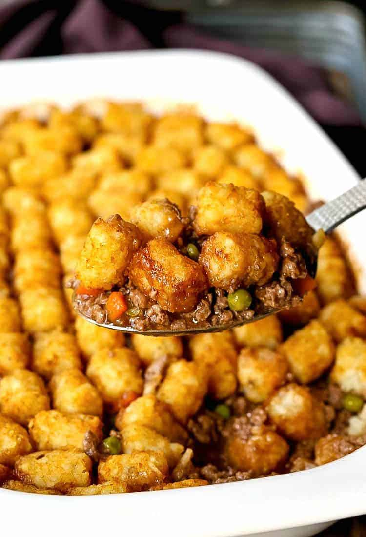 Ground Beef Tater Tot Casserole is a comfort food dinner recipe with beef and a tater tot crust