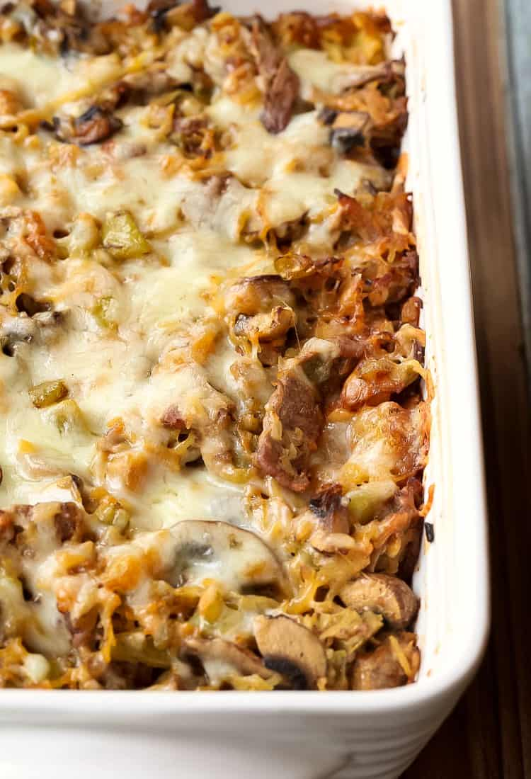 This Philly Cheesesteak Spaghetti Squash Casserole is an easy dinner recipe made with spaghetti squash, beef and cheese