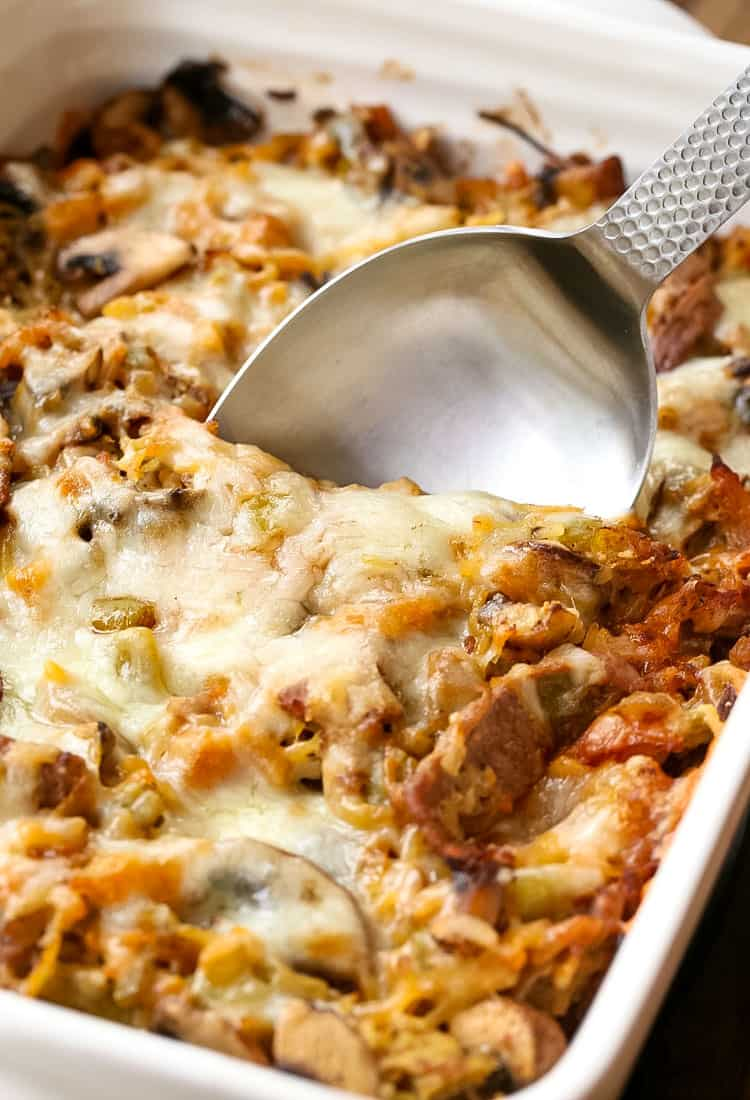 Philly Cheesesteak Spaghetti Squash Casserole is an easy beef casserole recipe that can be made ahead of time