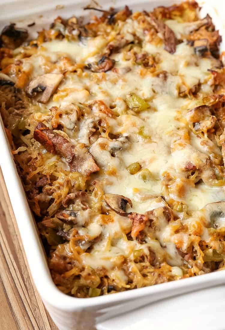 Philly Cheesesteak Spaghetti Squash Casserole is a low carb dinner recipe made with spaghetti squash instead of pasta