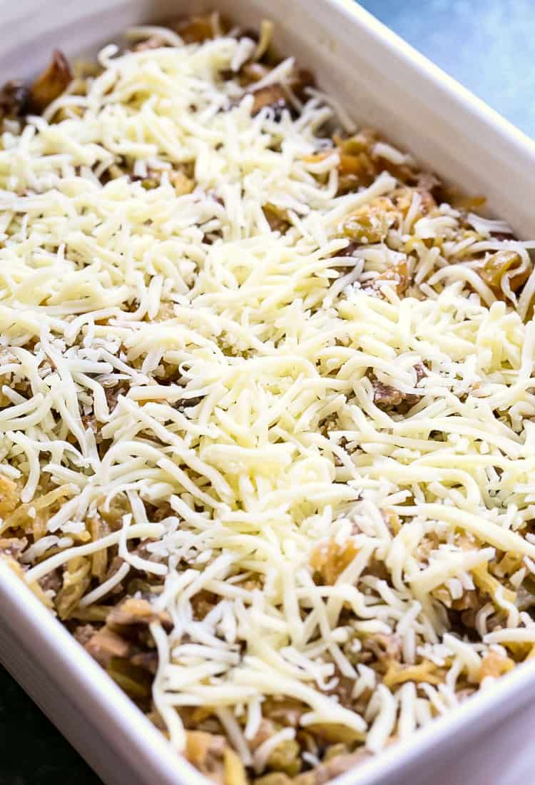 This Philly Cheesesteak Spaghetti Squash Casserole is an easy casserole recipe baked with mozzarella cheese on top