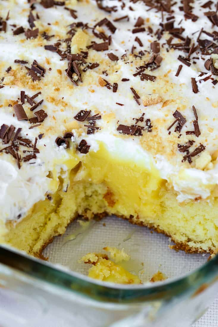 Banana Bourbon Poke Cake is a cake recipe that uses boxed cake and pudding