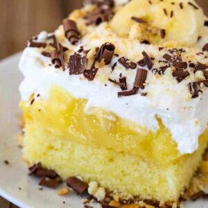 Banana Bourbon Poke Cake is an easy poke cake recipe with bananas and bourbon