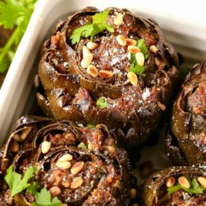 Grandma's Best Stuffed Artichokes are a side dish that can be made ahead of time