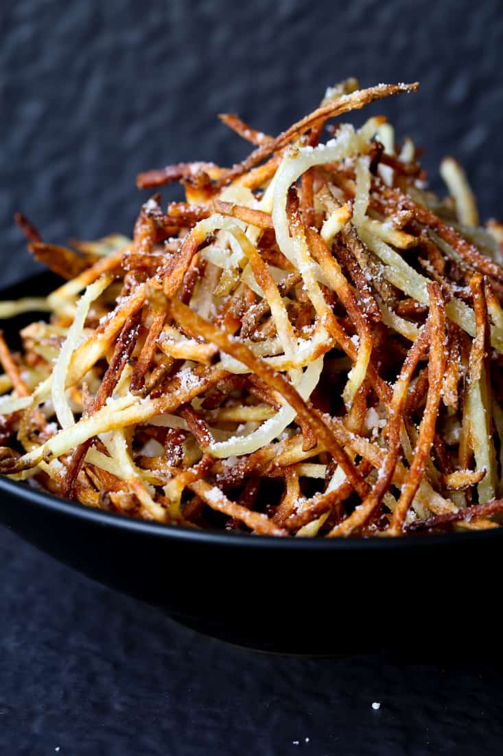 Shoestring French Fries is a french fry recipe that's made three ways, these are made in an air fryer