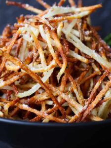 Homemade Shoestring French Fries is a french fry recipe that's made three ways, perfect for appetizers or a side dish