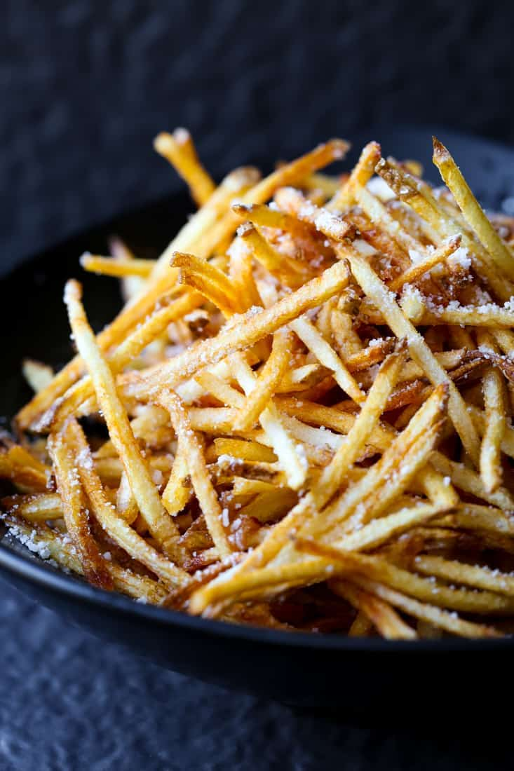 Homemade Shoestring French Fries is a french fry recipe that's made three ways, these are deep fried