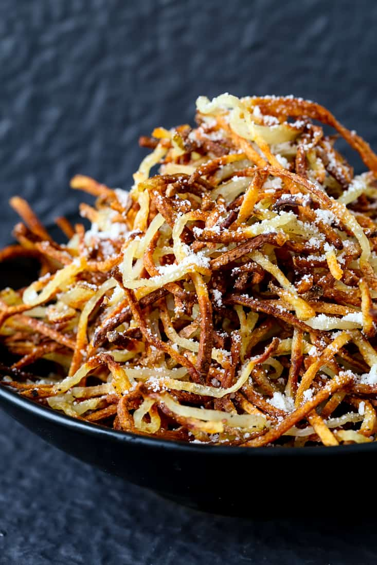 Homemade Shoestring French Fries is a french fry recipe that's made three ways, these are oven baked