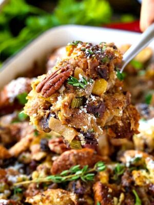Pecan, Fig and Pear Vegetarian Stuffing | Must Try Thanksgiving Recipe
