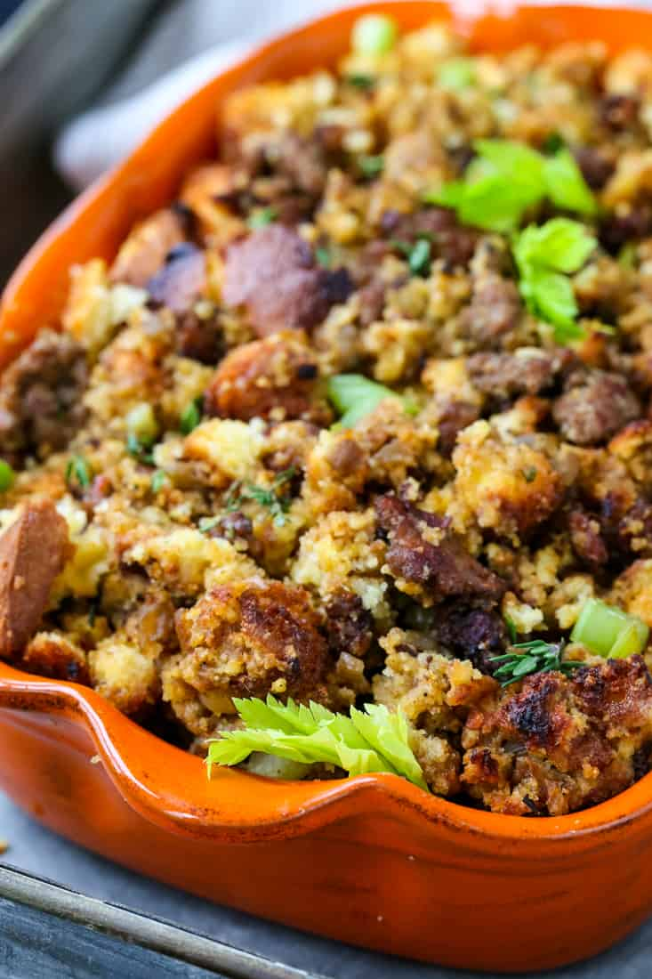 Spicy Sausage Cornbread Dressing is going to be a favorite Thanksgiving side dish