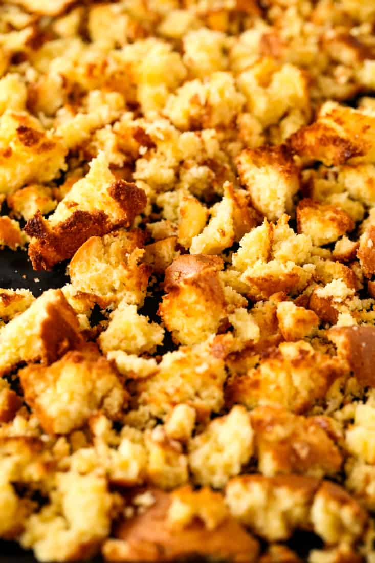 Spicy Sausage Cornbread Dressing has toasted cornbread for the base with spicy sausage and vegetables