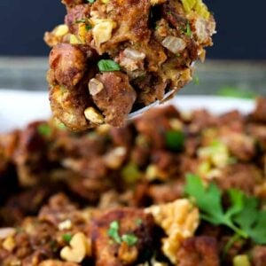 Waldorf Chicken Sausage Stuffing is a sausage stuffing recipe made with apples, walnuts and raisin bread