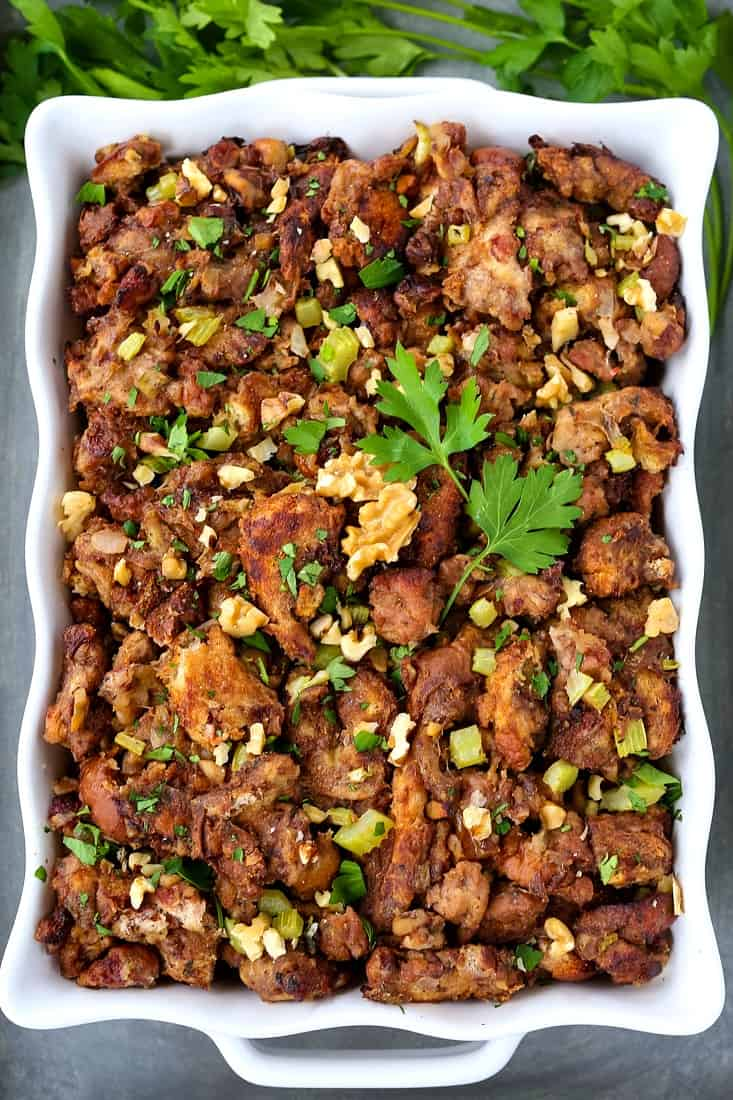 Waldorf Chicken Sausage Stuffing is a sausage stuffing recipe with apples and raisins