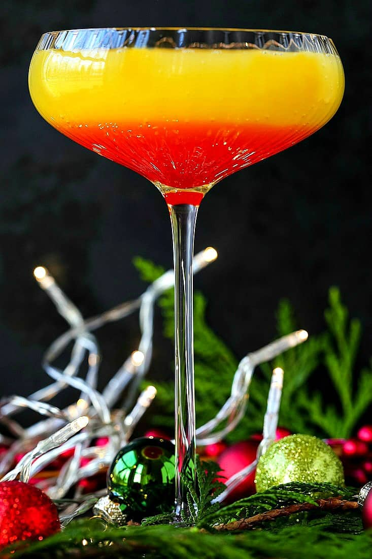 Christmas Morning Mimosa is a mimosa recipe with amaretto and grenadine