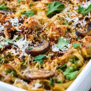 Leftover Turkey Tetrazzini is a leftover turkey recipe baked with pasta, mushrooms and peas