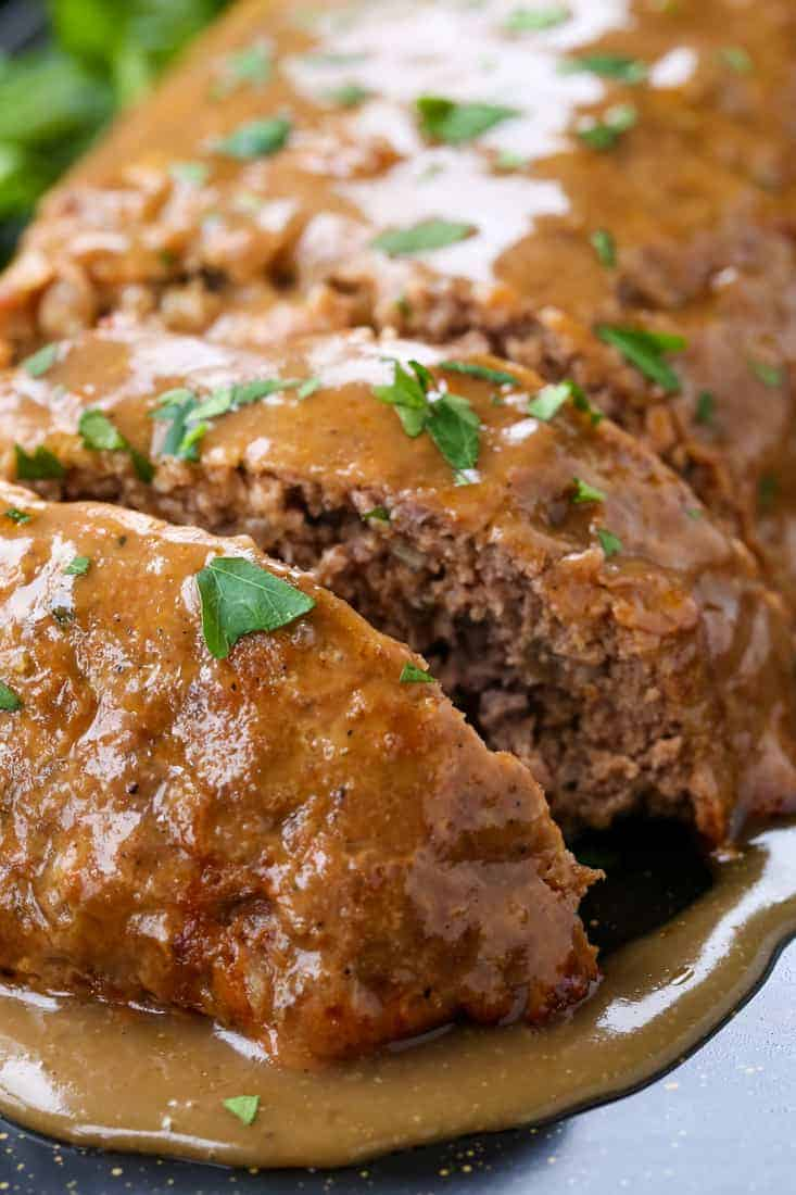 Brown Gravy Meatloaf is a meatloaf recipe with a simple brown gravy