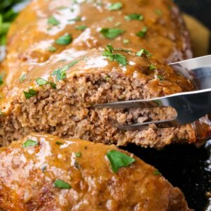 Brown Gravy Meatloaf is an easy meatloaf recipe served with brown gravy