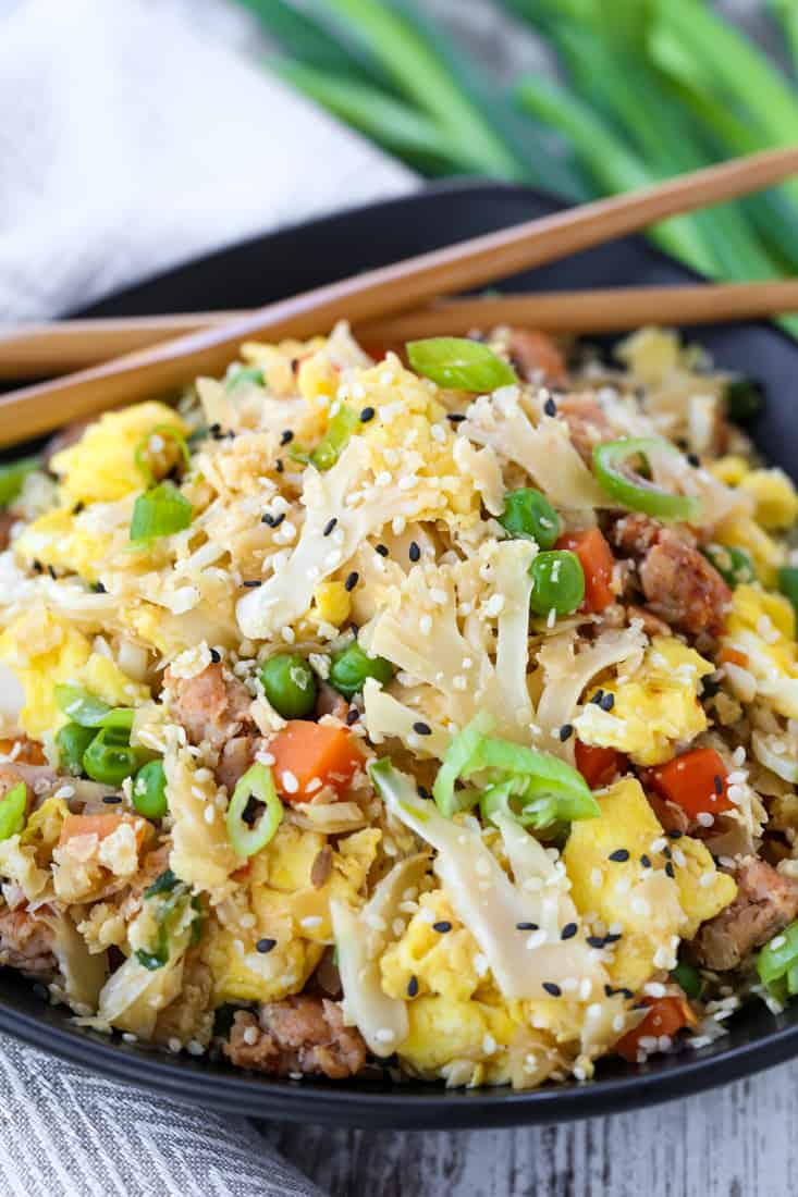 Cauliflower Fried Rice is a fried rice recipe with chicken, vegetables and cauliflower