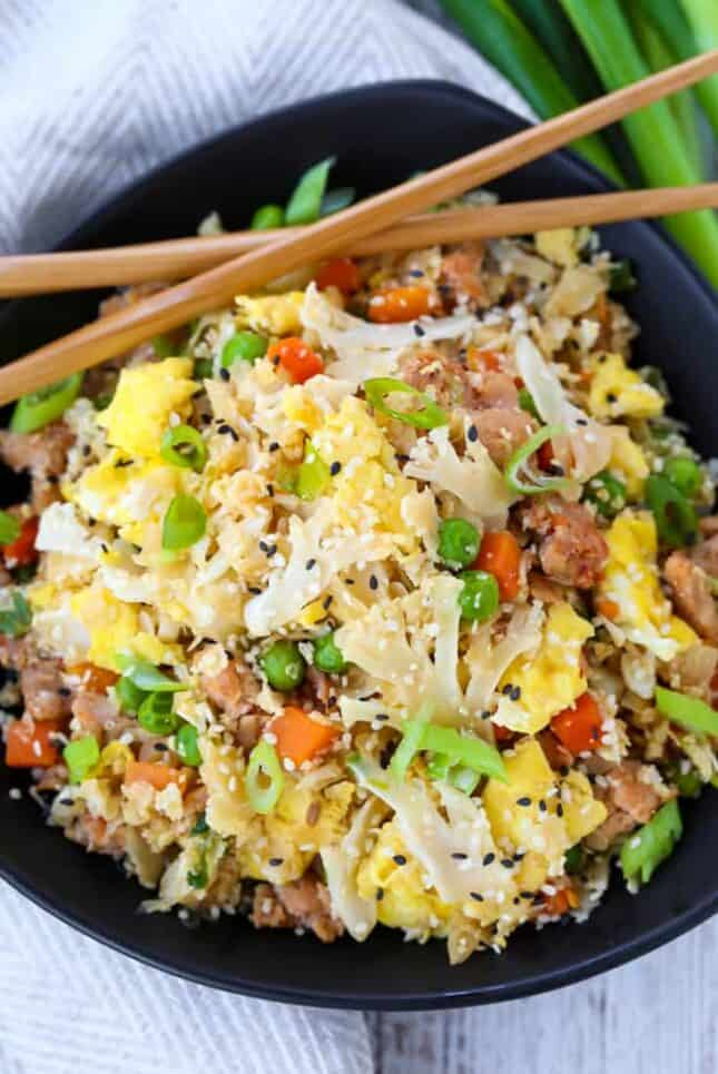 Cauliflower Fried Rice is a fried rice recipe made with cauliflower instead of regular rice