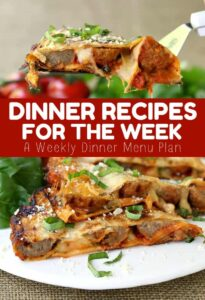 Dinner Recipes For the Week is a weekly menu dinner planner
