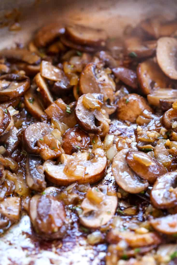 The Ultimate Chicken Marsala recipe starts with browned mushrooms