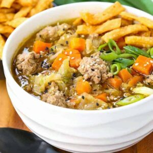 Pork Egg Roll Soup recipe is a low carb dinner recipe with pork and cabbage
