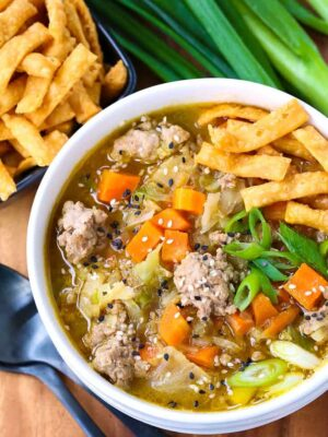 Pork Egg Roll Soup is soup that tastes like an egg roll without the shell