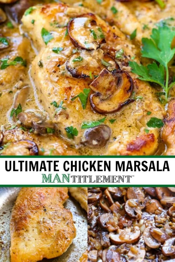 Chicken Marsala photo collage