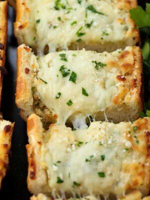 Easy Cheesy Garlic Bread is a garlic bread recipe with mozzarella cheese