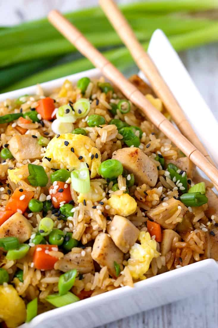 Chicken Fried Rice is a fried rice recipe with vegetables, eggs and chicken