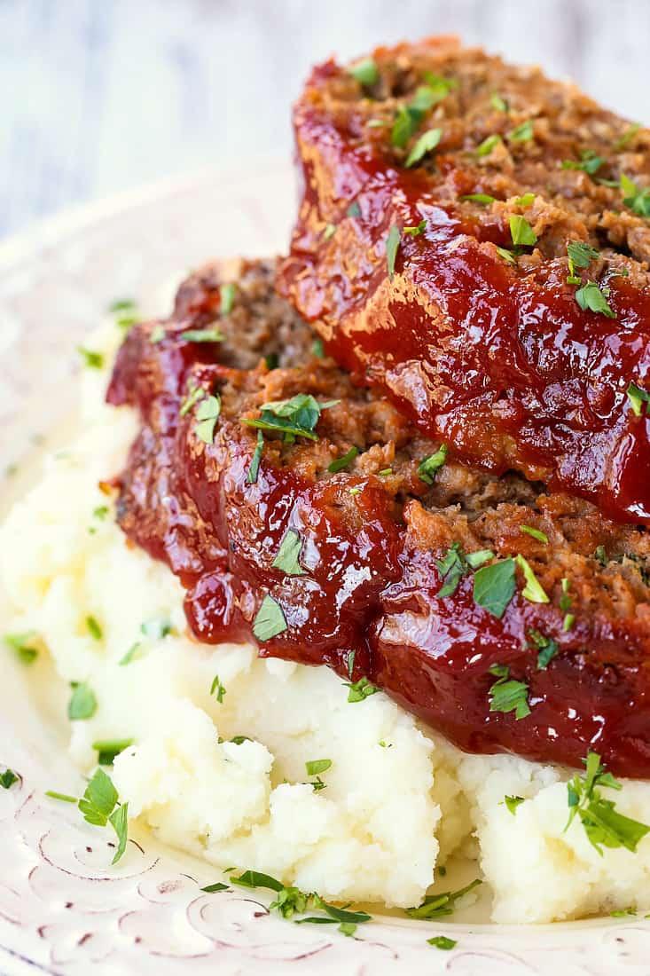 Classic Meatloaf Recipe is a beef, pork and veal meatloaf with a tomato glaze