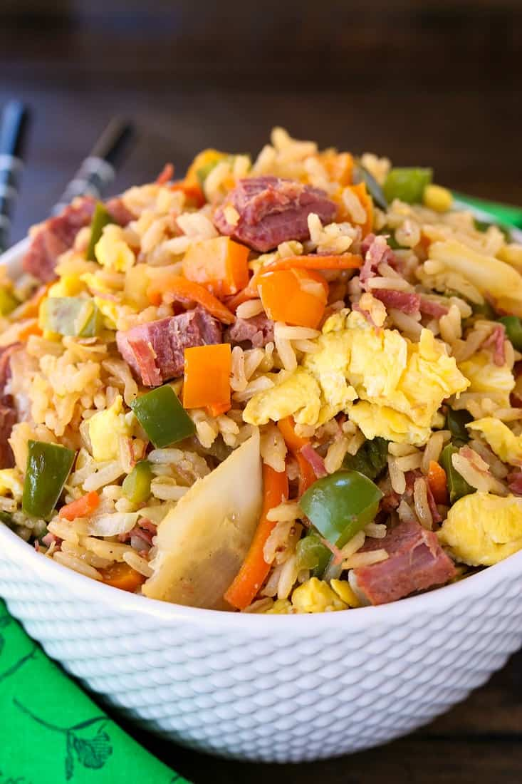 Corned Beef and Cabbage Fried Rice is a fried rice recipe made with leftover corned beef