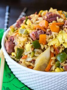 Corned Beef and Cabbage Fried Rice is a leftover corned beef recipe turned into fried rice