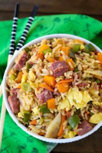 Corned Beef and Cabbage Fried Rice is a fried rice recipe made with leftover corned beef, peppers and cabbage