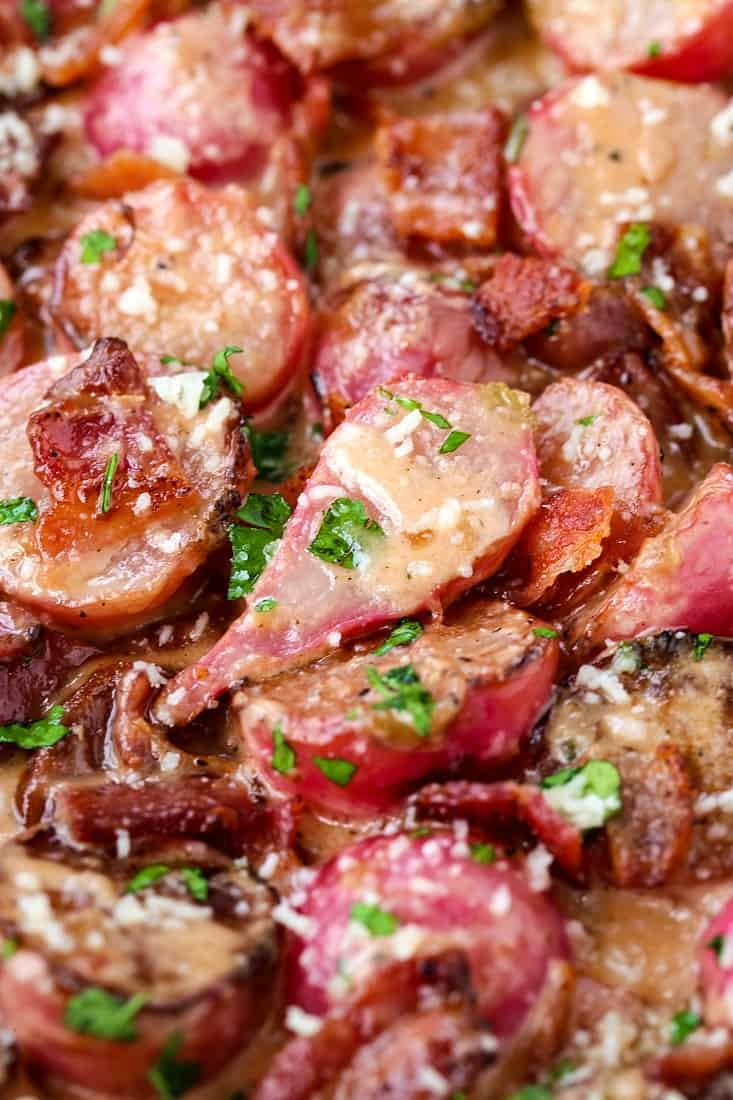 Pan Roasted Radishes in Bacon Cream Sauce is a low carb, roasted vegetable recipe