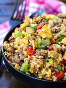 Philly Cheesesteak Fried Rice is a fried rice recipe with beef and cheese that's perfect for dinner