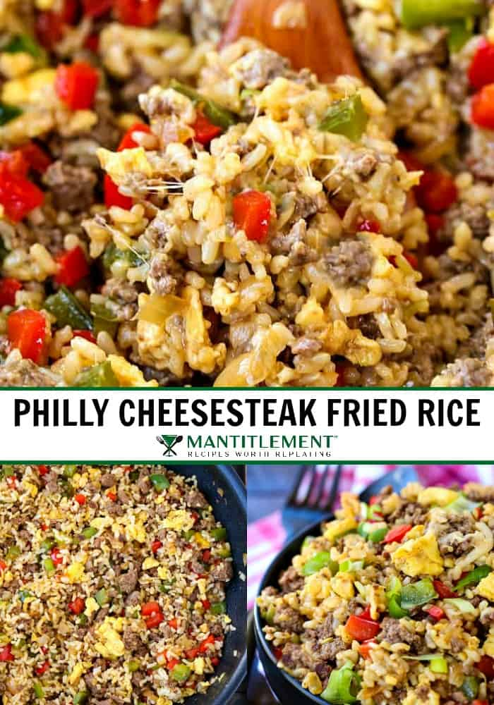 Philly cheesesteak fried rice recipe collage for pinterest