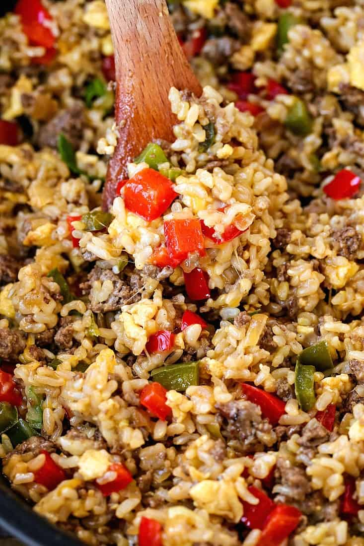 Philly Cheesesteak Fried Rice is a fried rice recipe with beef, peppers and cheese