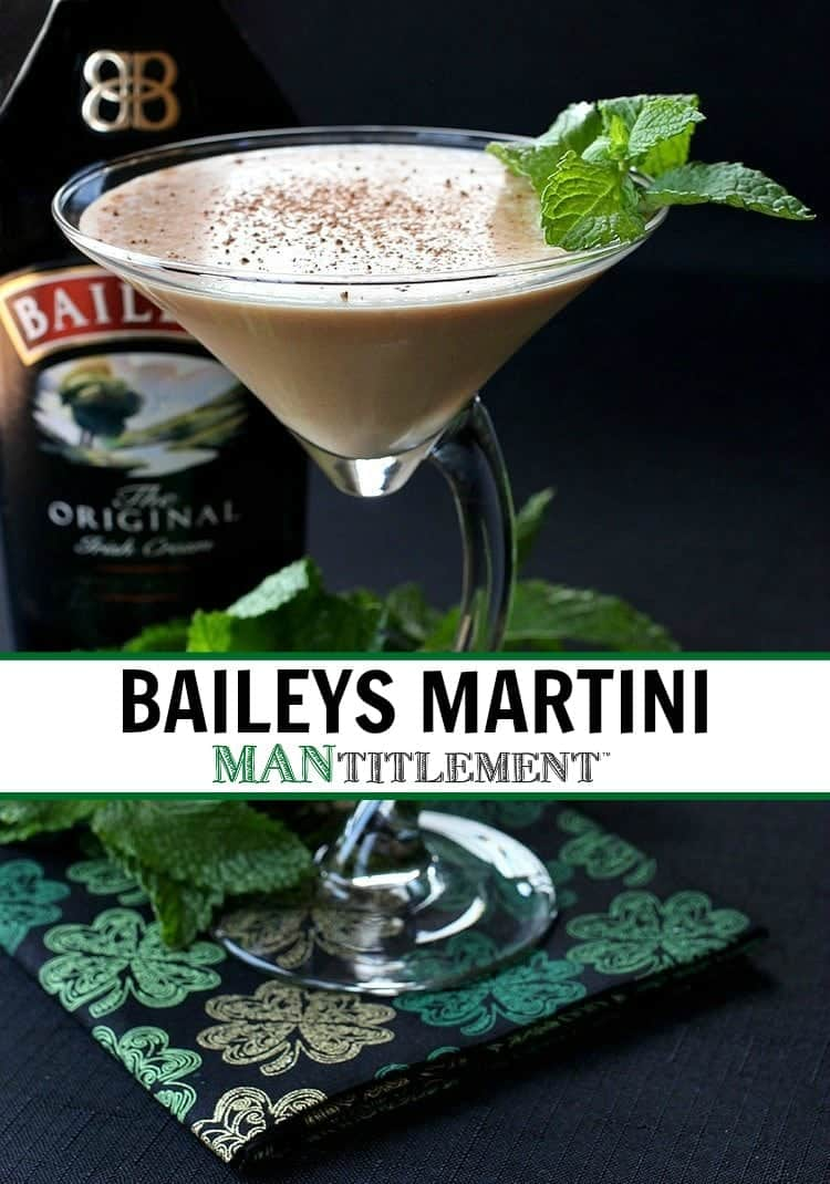 Baileys Martini with a bottle of Baileys in the background