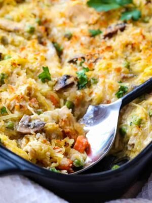 Chicken Pot Pie Spaghetti Squash Casserole is a low carb dinner recipe that uses spaghetti squash instead of pasta