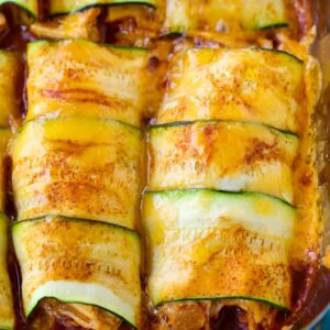 Chicken Stuffed Zucchini Enchiladas
