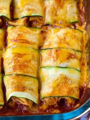 Chicken Stuffed Zucchini Enchiladas are a low carb enchilada recipe made with zucchini