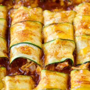 Chicken Stuffed Zucchini Enchiladas are a low carb enchilada recipe with a chicken filling